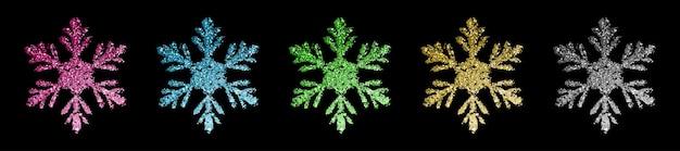 Zestaw pięknych, błyszczących, złożonych świątecznych płatków śniegu wykonanych z iskierek w różnych kolorach