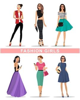 Zestaw pięknych graficznych dziewczyn. moda damska odzież. kolorowa ilustracja.