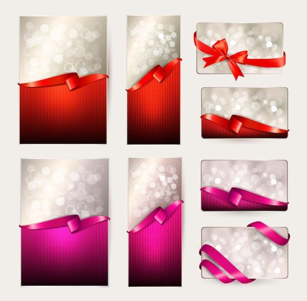Zestaw pięknych kart upominkowych z czerwonymi i różowymi kokardkami prezentowymi z ilustracją wstążek