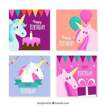 Zestaw pięknych kart urodzinowych z jednorożecami