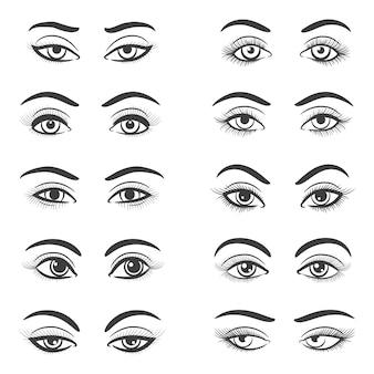 Zestaw pięknych kobiecych oczu
