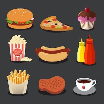 Zestaw pięknych kolorowych ikon płaski z jedzeniem.
