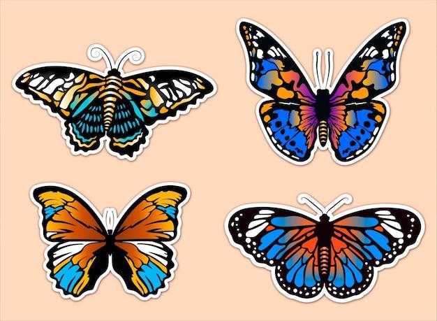 Zestaw pięknych kolorowych naklejek motylkowych