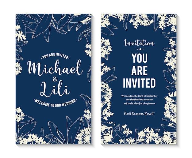 Zestaw pięknych kwiatów banery. element do karty projektu lub zaproszenia