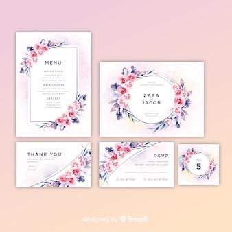 Zestaw pięknych kwiatowych zaproszeń ślubnych