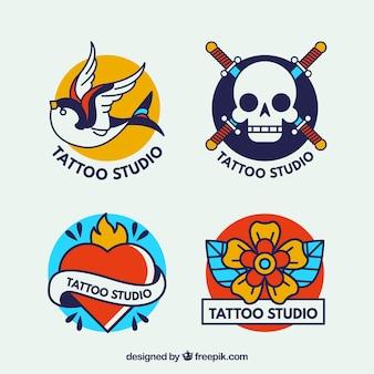 Zestaw pięknych logo tatuaż studio