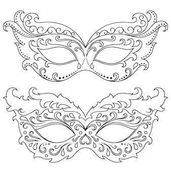 Zestaw pięknych masek festiwalowych do świętowania halloween, nowego roku, brazylijskiego lub weneckiego karnawału, mardi gras lub imprezy. elementy kostiumu świątecznego dla kobiet. na białym tle kontur z kwiatowy wzór.