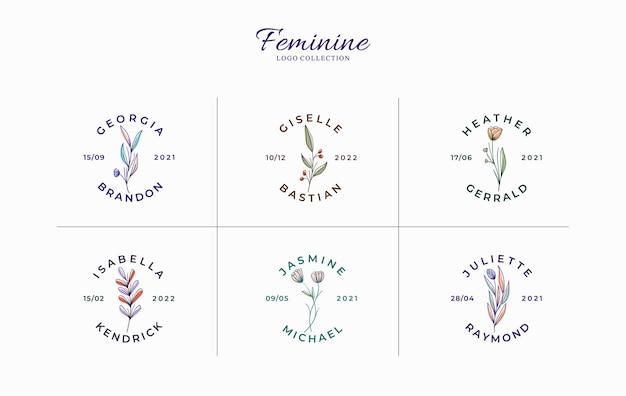Zestaw pięknych minimalistycznych kwiatowych logo z imionami ślubnymi