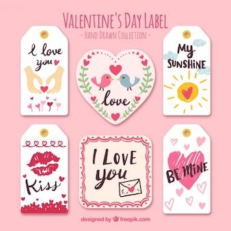 Zestaw pięknych naklejek z pięknym valentine