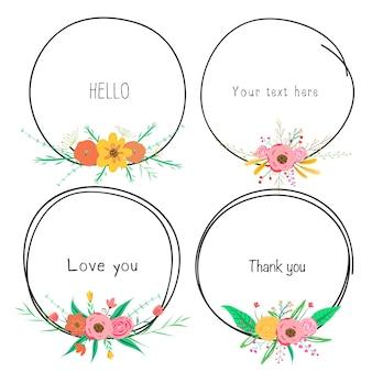 Zestaw Pięknych Okrągłych Ramek Z Kwiatem Do Dekoracji Premium Wektorów
