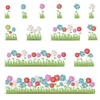 Zestaw pięknych płaskich wiosennych i letnich kwiatów.