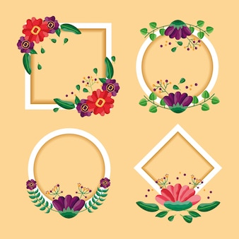 Zestaw pięknych ramek kwiatowy. zaokrąglone koło i kwadrat