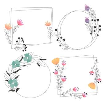 Zestaw pięknych ramek kwiatowych