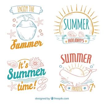 Zestaw pięknych ręcznie narysowanych letnich naklejek