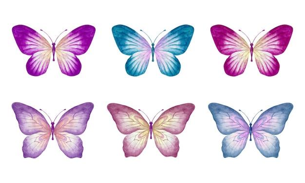 Zestaw pięknych ręcznie rysowane akwarela zestaw motyl na białym tle