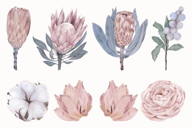 Zestaw pięknych różowych kwiatów i niebieskich jagód