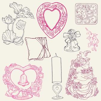Zestaw pięknych ślubnych ręcznie rysowane elementy