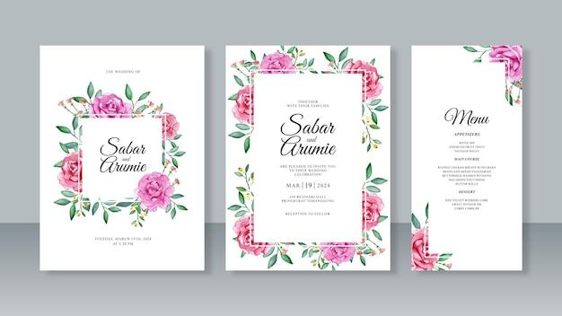 Zestaw pięknych szablonów zaproszeń na ślub z akwarelowym malowaniem kwiatów róży