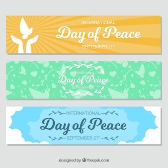 Zestaw pięknych transparentów dnia pokoju
