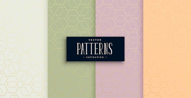 Zestaw pięknych wzorów w minimalnym sześciokątnym stylu