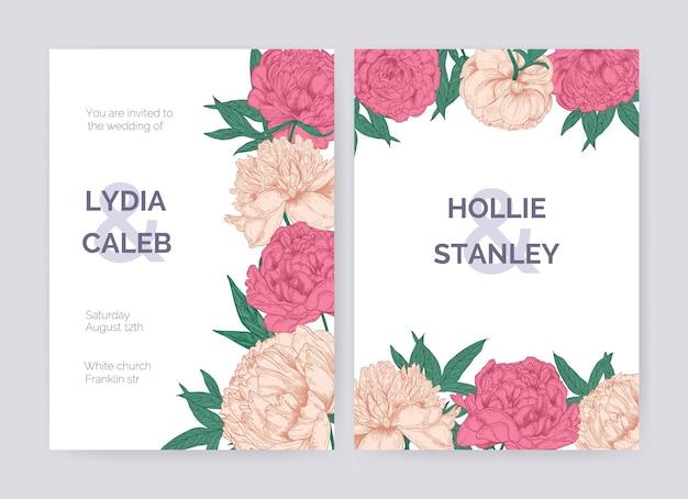 Zestaw pięknych zaproszeń ślubnych lub szablonów kart save the date ozdobionych przepięknymi kwitnącymi różowymi kwiatami piwonii.