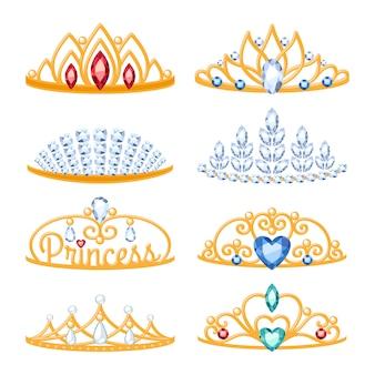 Zestaw pięknych złotych diademów z kamieniami szlachetnymi.