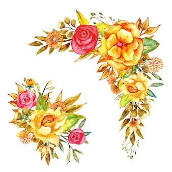 Zestaw pięknych żółtych elementów akwareli kwiatowych