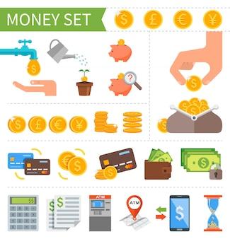 Zestaw pieniędzy i finansów w stylu płaski