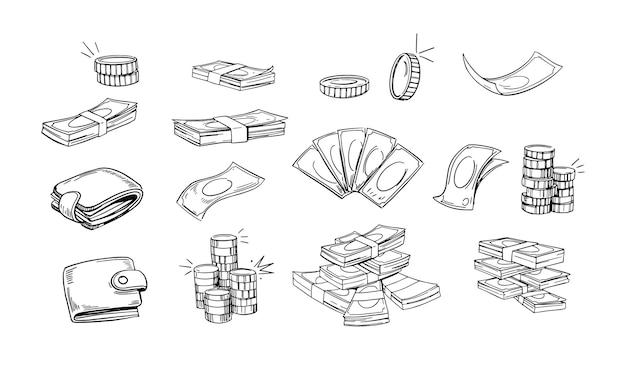 Zestaw pieniędzy. ilustracje konturowe, monety, portfel