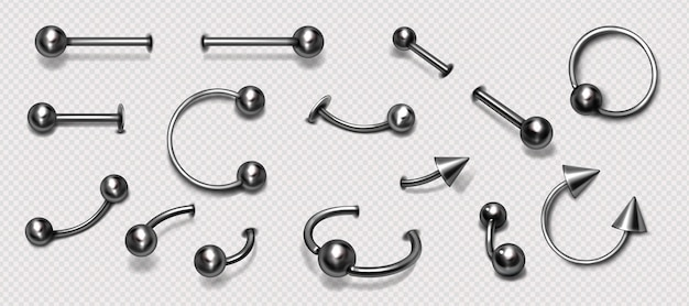 Zestaw piercing, biżuteria, metalowe pierścienie, pierce, brzana, z, kulki, i, stożki, odizolowany