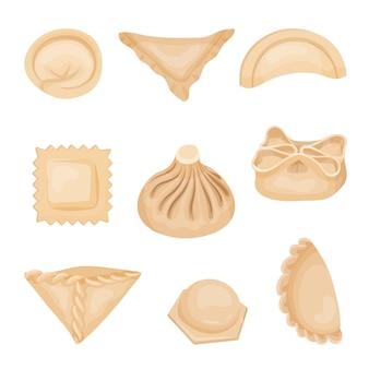 Zestaw pierogów o różnych kształtach. smaczne jedzenie. temat gotowania. elementy do książki kulinarnej lub menu