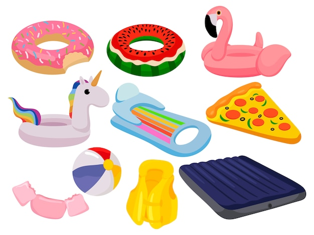 Zestaw pierścieni pływać kreskówka. kolekcja kręgów pływackich o różnych kształtach.
