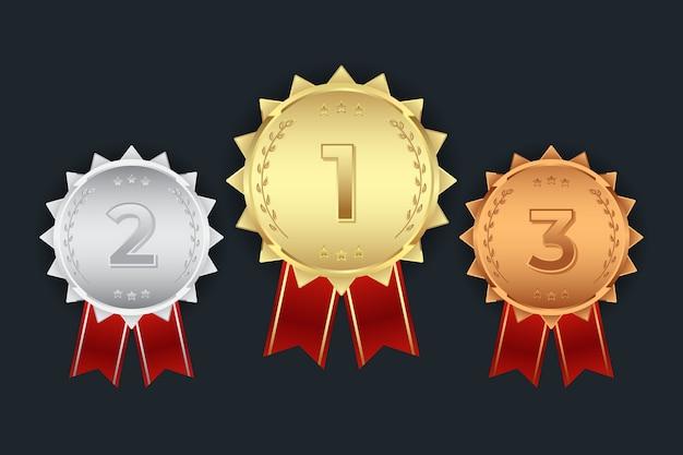 Zestaw pierwszej drugiej trzeciej złotego srebrnego brązowego medalu