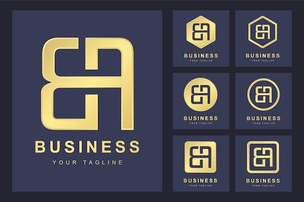 Zestaw pierwszej litery b, złoty szablon logo.