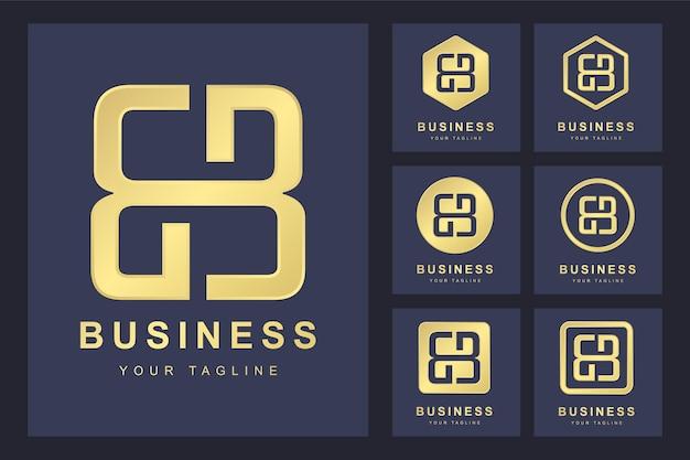 Zestaw pierwszej litery bb, złoty szablon logo.