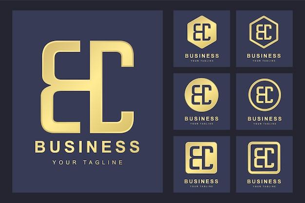 Zestaw pierwszej litery bc, złoty szablon logo.