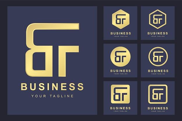 Zestaw pierwszej litery bf, złoty szablon logo.