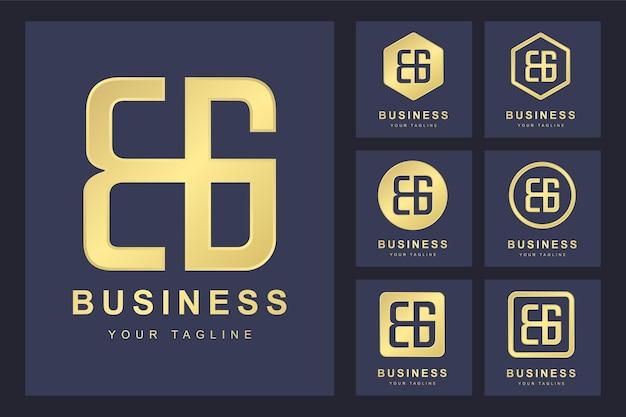 Zestaw pierwszej litery bg, szablon logo złoty.