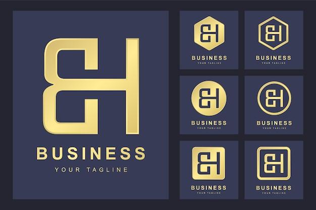 Zestaw pierwszej litery bh, złoty szablon logo.