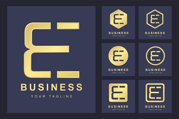 Zestaw pierwszej litery być, złoty szablon logo.