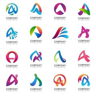Zestaw pierwszej litery szablon logo