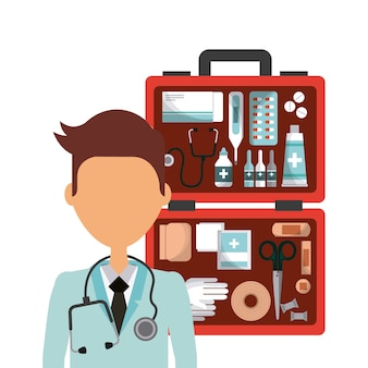 Zestaw pierwszej pomocy i ikona kreskówka lekarz medycyny
