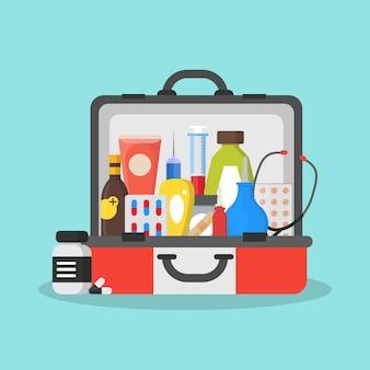 Zestaw pierwszej pomocy lub walizka koncepcja płaskiej opieki zdrowotnej w nagłych wypadkach.