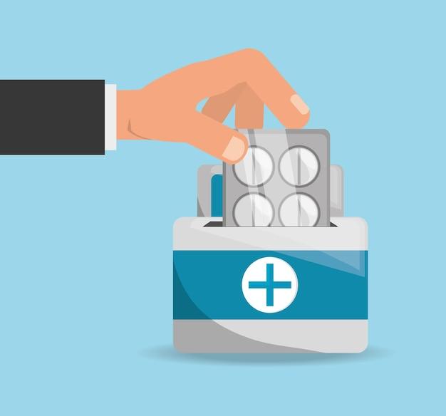 Zestaw pierwszej pomocy medycznej z leczeniem uzależnień od narkotyków