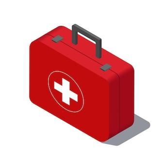 Zestaw pierwszej pomocy na białym tle