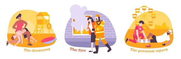 Zestaw pierwszej pomocy z płaskimi kompozycjami i ludźmi ratującymi życie innych na ilustracji katastrof