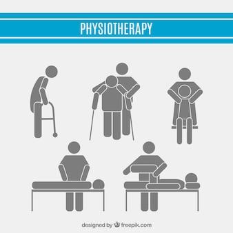 Zestaw piktogramów fizjoterapii