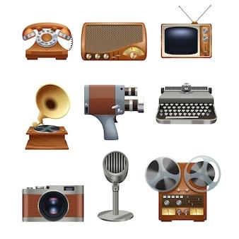 Zestaw piktogramów retro vintage urządzenia
