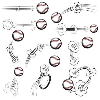 Zestaw piłek baseballowych ze śladami ruchu w stylu komiksowym. element plakatu, banera, ulotki, karty. ilustracja