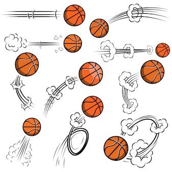 Zestaw piłek do koszykówki ze śladami ruchu w stylu komiksowym. element plakatu, banera, ulotki, karty. ilustracja